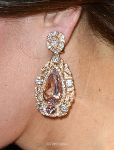 Pink gem stone and diamond tear drop earrings