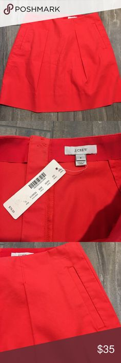 J. CREW Flare mini NWT BRE (bright red) In incredibly soft cotton and finished with an exposed back zip. Color: BRE (bright red)  Cotton. Back zip. Pockets. Machine wash. Item 04235. J. Crew Skirts Mini