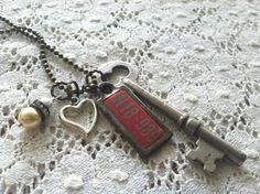 Necklace - Vintage Mini License Plate, Skeleton Key, Heart, Rhinestone, and Bead Charms