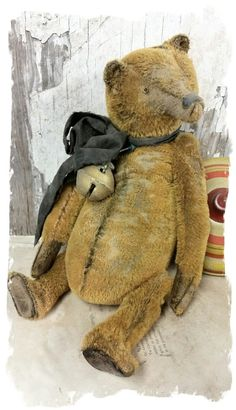 """Image of Old & Worn mustard gold stubble mohair Teddy Bear - 12.5"""" By Whendi's Bears"""