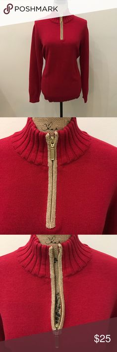 NWT Karen Scott red and gold sweater size 1X Beautiful new with tags Karen Scott sweater with gold detailing on front zipper size 1X Karen Scott Sweaters