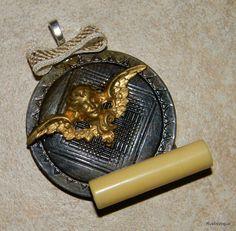 Angel Secrets Pendent Vintage Materials Assemblage by RustIsVogue, $32.00