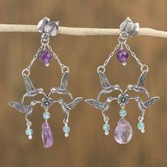 Hummingbird Commune Amethyst and Agate Bird Motif Dangle Earrings from Mexico Silver Chain Necklace, Initial Necklace, Silver Earrings, Dangle Earrings, Silver Jewelry, Hummingbird Art, Silver Wings, Engraved Rings, Handcrafted Jewelry