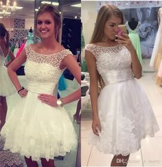 Luxury White Pearls Beaded Short Homecoming Dresses 2016 A Line Scoop Cap Sleeves Plus Size Lace Cheap Prom Party Gowns Vestido De Festa Short Homecoming Gowns Plus Size Prom Dresses Cheap Homecoming Dresses Online with $169.15/Piece on In_marry's Store | DHgate.com