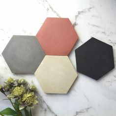 Hexagonal Concrete Coasters - Dusty Pink & Grey - Set (x Dusty Pink Bedroom, Gold Marble, Engagement Gifts, Friend Wedding, Pink Grey, Color Splash, Concrete, Coasters, House Design
