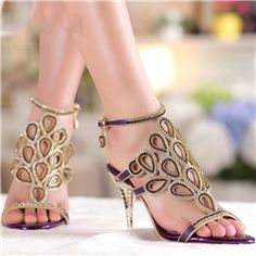 Ericdress Shining Rhinestone Hollow-outs Stiletto Sandals