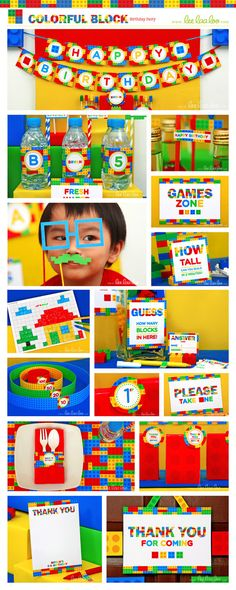 Colorful Blocks Birthday Party Package Collection Set Mega Personalized Printable Design by leelaaloo.com ||