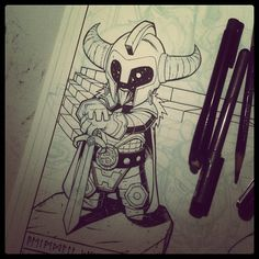 WIP inking! Heimdall is holding down the fort while waiting for everyone else to arrive! Bonus points if you even know who heimdall is.