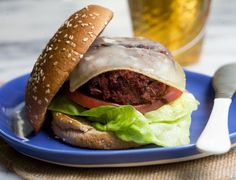 Veggie Burger: Loaded with Garbanzo Beans, Heirloom Rice, Black Beans and Spices. Via A Cozy Kitchen