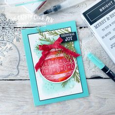 Fancy Friday Colour Challenge using Old Olive, Real Red and Bermuda Bay and for me, a Christmas Card using Bright Baubles Bundle By Mikaela Titheridge, The Crafty oINK Pen. UK Independent Stampin' Up! Demonstrator. Buy your Stampin' Up! Products through my online store and use my Shopping Code at checkout for a Free Gift from me and a FREE Download of the All Star Tutorial Bundle. More info on my blog. Make Your Own Card, How To Make Diy, Fancy Fold Cards, Folded Cards, Mini Sales, Card Making Tutorials, Cards For Friends, Greeting Cards Handmade, I Card
