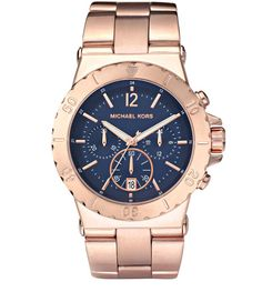 Michael Kors Chronograph Watch  in Blue for Men (rose gold) - Lyst