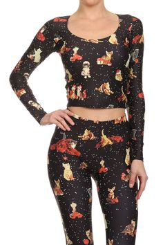 Christmas Kittens Long-Sleeve Crop Top from POPRAGEOUS