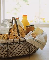 Breakfast basket for overnight house guests.