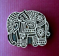 Elephant Hand Carved Wood Stamp Animal Indian by PrintBlockStamps
