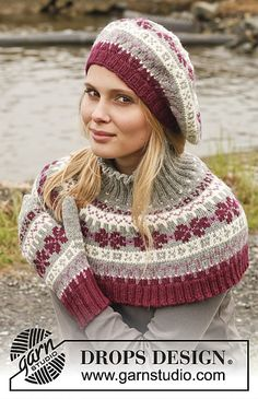 Set consists of: Knitted DROPS hat and neck warmer with Nordic pattern in Lima. Free knitting pattern by DROPS Design. Fair Isle Knitting Patterns, Knit Patterns, Crochet Beret, Drops Design, Knitted Shawls, Lace Shawls, Knitting Accessories, Neck Warmer, Free Knitting