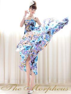 Morpheus Boutique  - Blue Flora Pattern Chiffon Strap Hem Boho Pleated long Dress