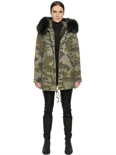 MR & MRS ITALY - Shearling-trimmed Cotton-canvas Parka - Black ...