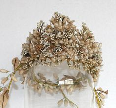 French bridal crown with waxed millinery flowers