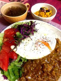 無農薬栽培のレタスとからし菜のサラダ、かぼちゃサラダ、もずくの塩麹スープ、いただきます。 - 21件のもぐもぐ - 暑い日は、キーマカレー☆ by machiruda11