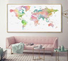 World Map Poster Watercolor World Map Push pin map of the world Detailed Poster world map Wall Art Push pin map -L World Map Wall Art, World Map Poster, Water Color World Map, Extra Large Wall Art, Watercolor Print, Home Decor Inspiration, Interior Design, Etsy, House