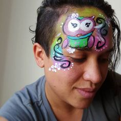Face Painting by Nany Design by Lisa Joyoung Face Paintings, Something To Do, Lisa, Owl, Cute, Ideas, Design, Owls, Kawaii