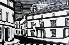 A linocut made using oil based Caligo relief ink on acid free paper. Each print is presented in a mount and is protected by a clear polycarbonate sleeve. Linocut Prints, Art Prints, Building Illustration, Sign Printing, Wood Engraving, Architecture Art, Printmaking, Bear, Black And White