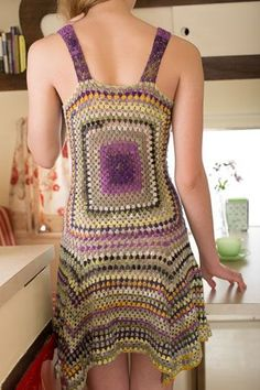 A granny square is highlighted in this gorgeous crochet dress. Sundance Dress back