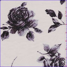 Pearl whitebackground with a large floral print in pale plum and black with a faint sheen. A dress weight woven cotton fabric with a soft feel and crisp hand. Slight widthwise stretch for added comfort, none lengthwise. Suitable for dresses, blouses and shirts. Machine washable.Compare to $13.00/yd