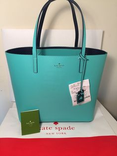 AUTHENTIC NEW NWT KATE SPADE LEATHER $275 LITTLE LEN IVY DRIVE BLUE GREEN TOTE #katespade #TotesShoppers