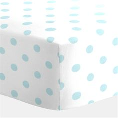 White and Mist Polka Dot Crib Sheet | Carousel Designs