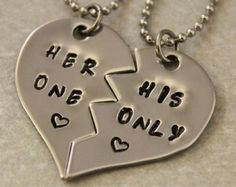 necklace for girlfriend and boyfriend half hearts - Google Search