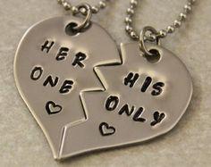 necklace for girlfriend and boyfriend half hearts - Google Search