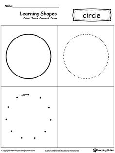 Learning Shapes: Color, Trace, Connect, and Draw a Circle: Learn the circle shape by coloring, tracing, connecting the dots and drawing with My Teaching Station printable Learning Shapes worksheet.