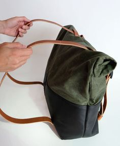 Leather and Waxed Canvas Weekender Bag- Olive Canvas de6601a7a3