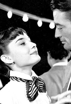 audrey hepburn + gregory peck (roman holiday). 1953