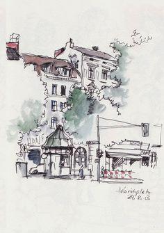Berlin Heinrichplatz - Detlef Surrey http://www.skizzenblog.surrey.de/ - Urban Sketches