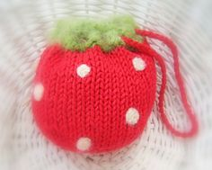 Strawberry Purse Pouch  Fruit Cozy  Knit by NewEnglandQuilter, $10.00