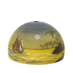 "Reverse Painted Tropical Scene Glass Lamp Shade Dome - 14"" now available in our Ebay store. Painting Lamp Shades, Painting Lamps, Brown Flowers, Rustic Lamps, Mountain Paintings, Glass Shades, Tropical, Scene, Ceiling Fans"