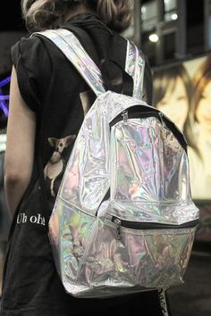 accessories, backpacks, silver, rainbow, holographic