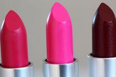 MAC Lipsticks in Moxie, Candy Yum-Yum and Rocker