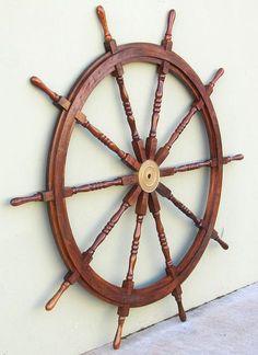 Nautical decor Christmas - XL Ship's Steering Wheel 72 Teak Wooden Nautical Wall Yard Decor Nautical Wall Decor, Nautical Gifts, Nautical Home, Coastal Decor, Nautical Marine, Nautical Bedroom, Pirate Bedroom, Nautical Furniture, Nautical Kitchen