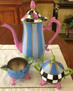 Custom Hand Painted Silver Tea Set by paintingbymichele on Etsy, Pottery Painting, Hand Painting Art, Café Chocolate, Mckenzie And Childs, Silver Tea Set, Teapots And Cups, Mad Hatter Tea, Tea Service, Hand Painted Furniture
