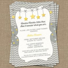 Twinkle, Twinkle Little Star baby shower invite, yellow and gray, printable file via Etsy. Love the yellow and chevron. Also could be teal Fiesta Baby Shower, Grey Baby Shower, Gender Neutral Baby Shower, Baby Shower Favors, Baby Shower Parties, Baby Shower Themes, Baby Shower Gifts, Shower Ideas, Star Wars Party