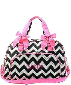 """Personalized Chevron Black Hot Pink 18"""" Quilted Duffle Tote Bag - Gifts Happen Here - 1"""