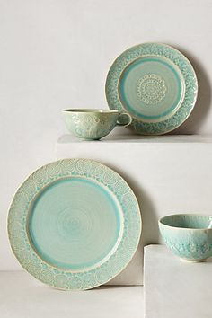 Old Havana Dishes - anthropologie.com $166 for four bowls, plates, mugs, and side plates