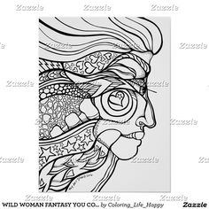 WILD WOMAN FANTASY YOU COLOR IT POSTER 18X24