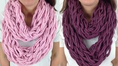 30 Minute Arm Knit Infinity Scarf Cowl with Lion Brand Wool Ease - Left . 30 Minute Arm Knit Infinity Scarf Cowl with Lion Brand Wool Ease - Left . Finger Crochet, Finger Knitting, Hand Crochet, Yarn Projects, Knitting Projects, Knitting Patterns, Crochet Patterns, Scarf Patterns, Knitting Ideas