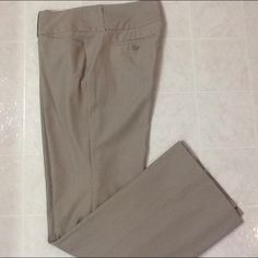 "EXPRESS PINSTRIPE WIDE WAISTBAND EDITOR PANTS NO TRADES BRAND NEW NEVER WORN.  HEM 10"" OPENING, LENGTH 32"". 3 HOOK WITH HIDDEN BUTTON CLOSURE.  TAN AND WHITE PINSTRIPE Express Pants Trousers"