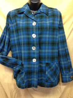 TRUE VINTAGE WOMENS 49ER PLAID WOOL JACKET SHIRT SHELL BUTTONS M  #Pendleton