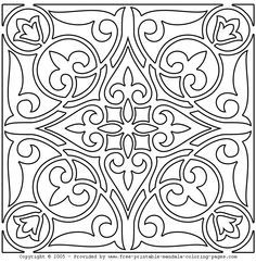 Coloring Page - Free Miscellaneous Coloring Pages Cartoon Coloring Pages, Colouring Pages, Adult Coloring Pages, Coloring Books, Tile Patterns, Embroidery Patterns, Motif Arabesque, Pewter Art, Whole Cloth Quilts